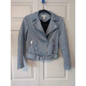 H&M Faux Suede Blue Biker Jacket